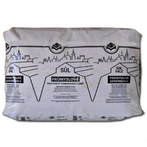 Sůl na posyp, technická průmyslová sůl na posypání chodníku 25 kg balená